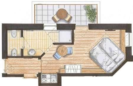 Studio 25 m2 Relax - plan